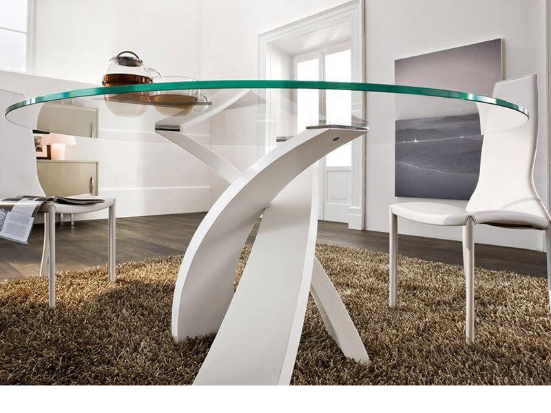 Tavolo Rotondo Vetro Design.Eliseo 8028 Tonin Casa Metal Table With Glass Top Sediarreda Com