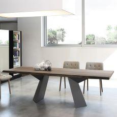 Fiandre - Tavolo di design Bontempi Casa, fisso 200x106 cm, con basamento in metallo e piano in vetro o legno, disponibile in diversi colori