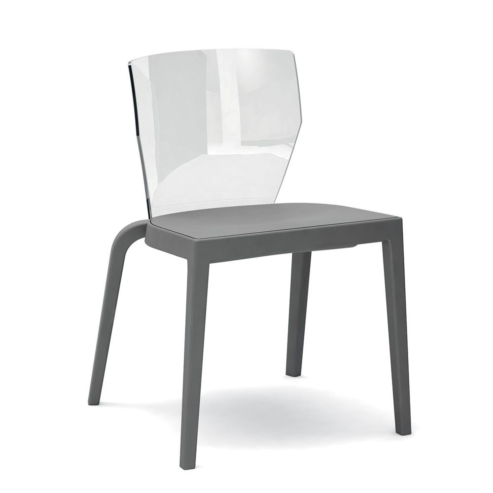 ... Bi   Chair Made Of Polypropylene In Anthracite Grey Colour With Transparent  Polycarbonate Backrest ...