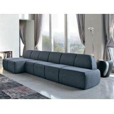 Blum-E - Divano moderno Tonin Casa con chaise longue, con rivestimento in tessuto, pelle o similpelle