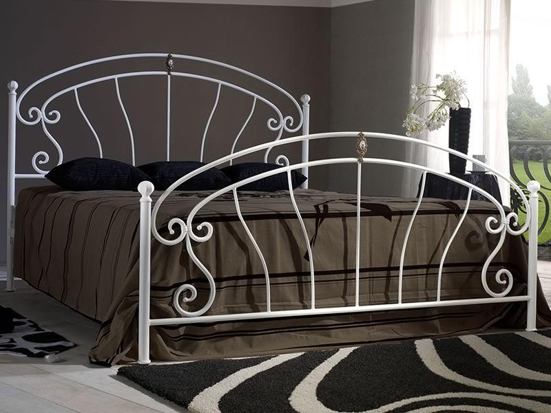 mistral lit double en fer forg peinture blanc candy et poignes de la mme couleur