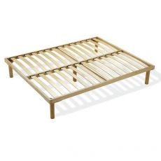 Rete Natural Bed - Fixed wooden rest with wooden slats, available in several sizes