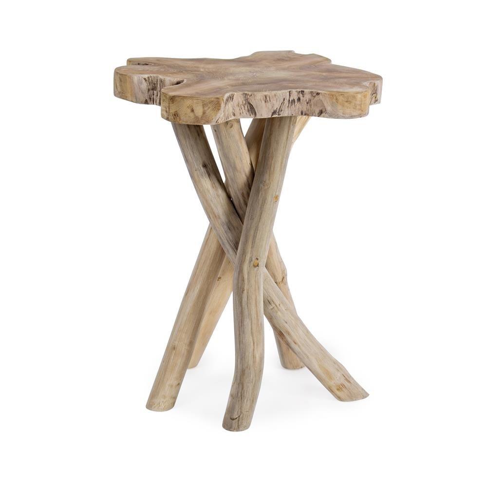 Abidjan - Tavolino in legno naturale teak, altezza 50 cm - Sediarreda