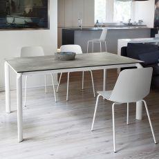 Energy-160 - Tavolo Domitalia in metallo, diversi piani disponibili, 160 X 90 cm allungabile
