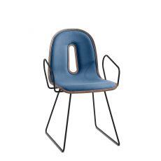 Gotham Woody Soft - Sedia di design Chairs&More, in metallo con seduta in legno, con cuscino di diversi tessuti, con o senza braccioli