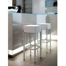 Cube 1400 - High steel bar-stool, with wooden seat or upholstered seat available in different fabrics