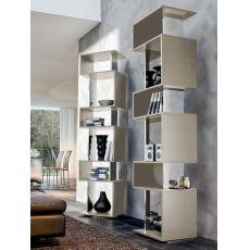 Osuna 7241 - Tonin Casa swivel bookcase made of lacquered MDF in champagne colour