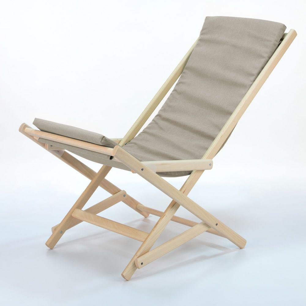 Dondolina sedia sdraio pieghevole in legno di faggio con for Sedia sdraio