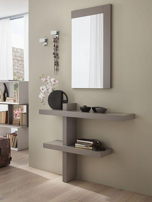 Pa240 meuble entr e avec miroir et crochets disponible for Decoration murale entree