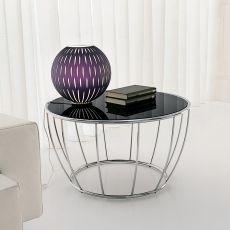 Amburgo 6286 - Tavolino rotondo Tonin Casa in metallo, piano in vetro diametro 70 cm, diversi colori disponibili