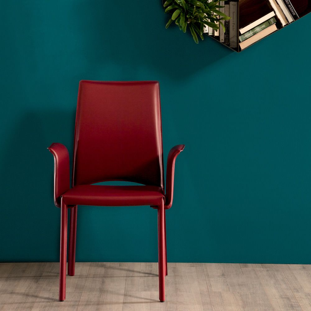 Madeleine 7276 | Chair Entirely Covered With Red Hide (with Armrest)