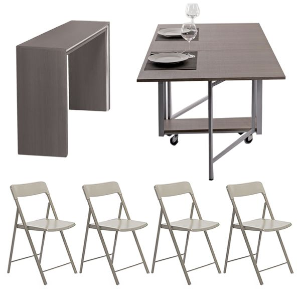 archimede zeta set console set avec table pliable 170x90 cm et 6 chaises disponible en. Black Bedroom Furniture Sets. Home Design Ideas