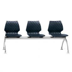 Uni Bench 2 - Panca per sala d'attesa in metallo e polipropilene, 3 o 4 posti