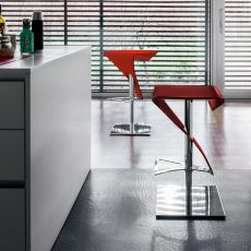 Real 6307 - Tonin Casa metal stool, leather seat, different colours available, swivel and adjustable in height