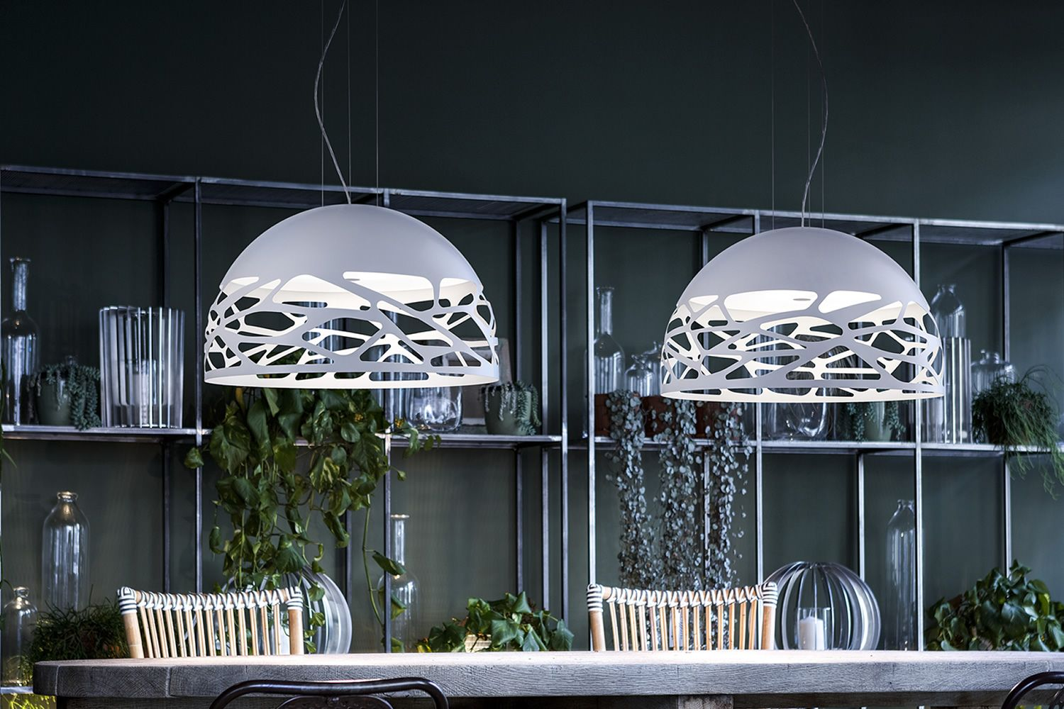 Kelly dome designer suspension lamp in metal available in