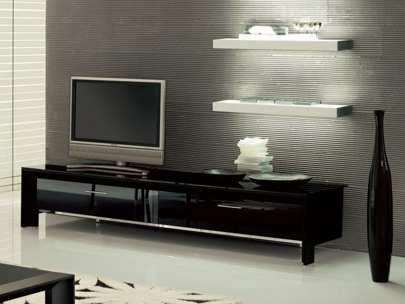 miami 6205 meuble porte tv tonin casa en aluminium et verre avec 2 portes sediarreda. Black Bedroom Furniture Sets. Home Design Ideas