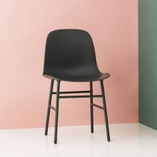 Form - Sedia Normann Copenhagen in metallo, seduta in polipropilene, diversi colori disponibili