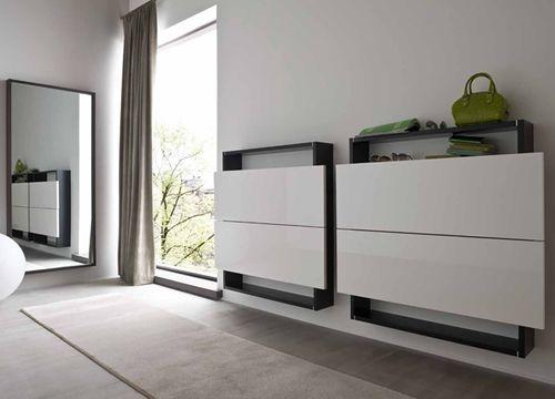 hosoi-106 - mobile ingresso sospeso-scarpiera a due ante, in ... - Mobili Design Ingresso