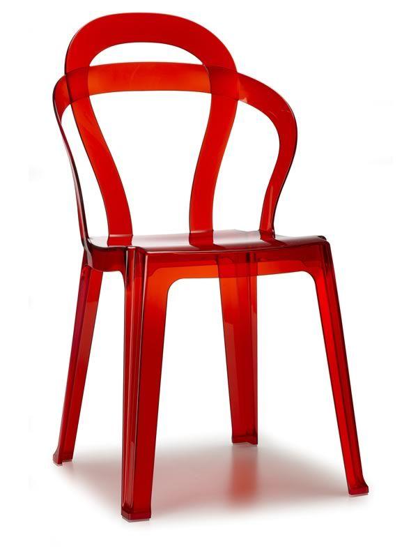 Titi 2330 stapelbarer design stuhl aus polycarbonat for Design stuhl rot