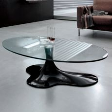 Sogn 6607 - Tonin Casa coffee table made of agglomerated marble with glass top, different colours available