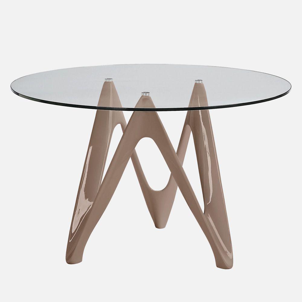 VR24 - Tavolo rotondo in resina con piano in vetro, diametro 120 cm - Sediarreda