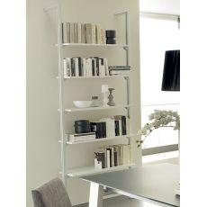 Ok-8 - Domitalia storage wall made of aluminium with shelves in glass or veneered wood