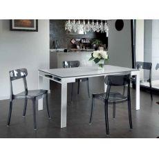 Report - Tavolo Domitalia in metallo, piano in laminato o in vetro, 160 x 90 cm allungabile