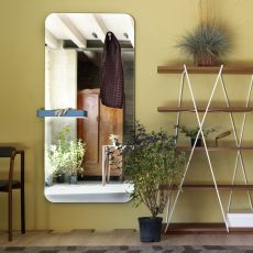 Benvenuto - Miroir rectangulaire Miniforms, avec patères et vide-poche disponibles en différentes couleurs