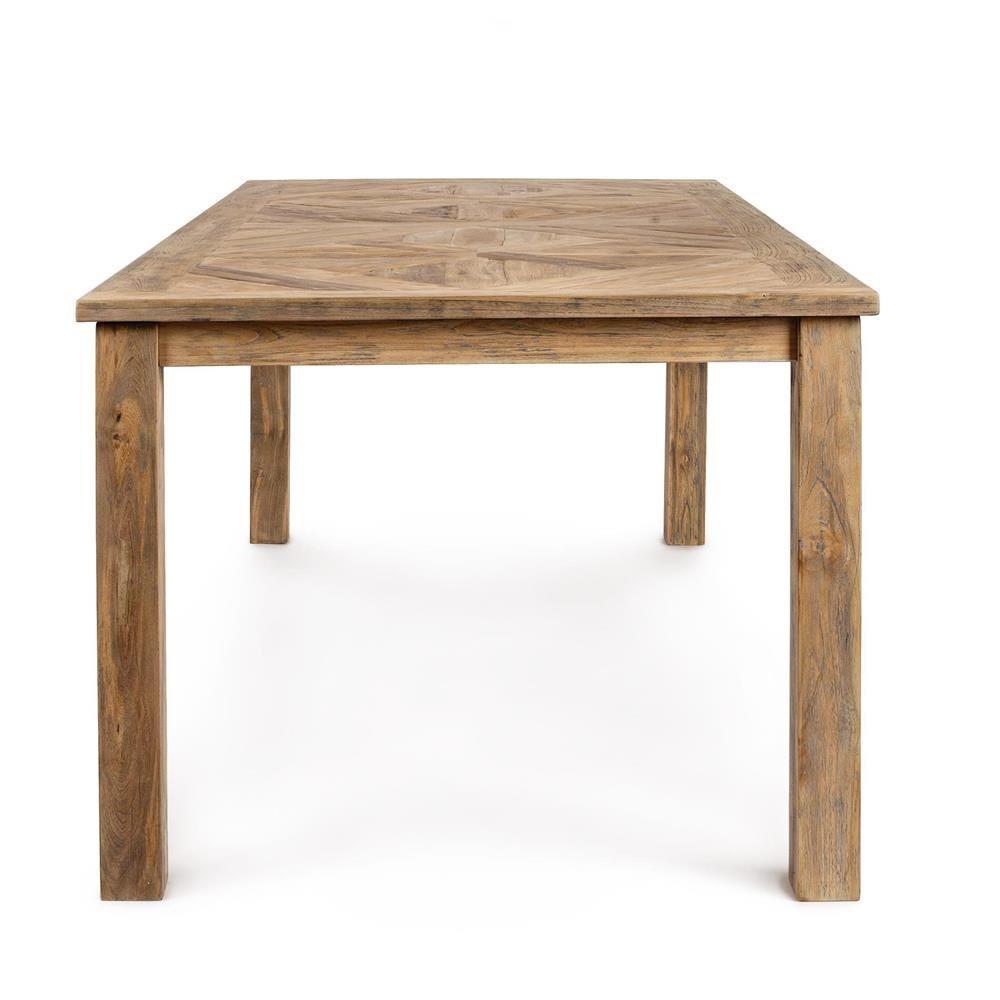 Malindi t tavolo in legno teak piano rettangolare fisso for Tavolo a t