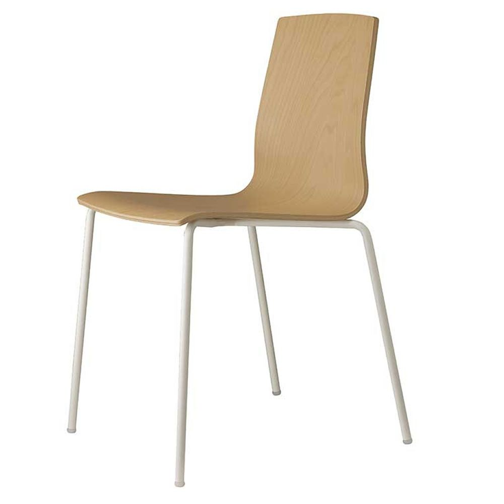 Alice wood v 2845 chaise en m tal verni blanc empilable for Chaise en hetre