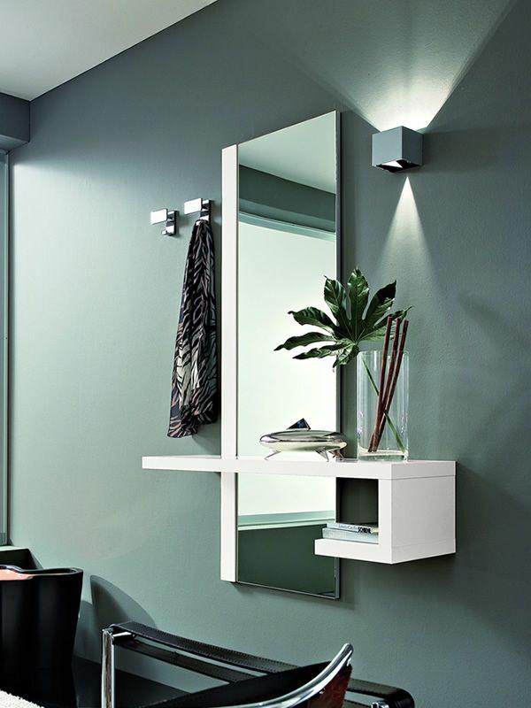 Pa252 mueble de entrada con espejo y percheros sediarreda for Mueble perchero entrada