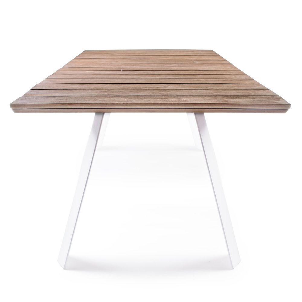 Alma Table En Aluminium Avec Plateau En Teak 240x100cm Pour Jardin Sediarreda