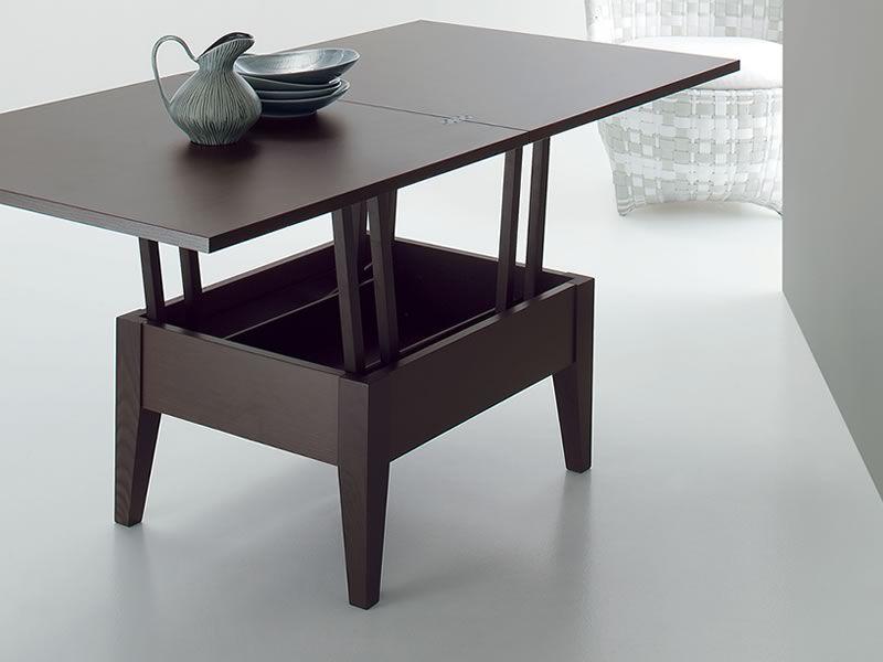 Ulisse tavolino trasformabile in tavolo da pranzo in legno 80 160x80 cm altezza 41 74 cm for Tavolo da biliardo trasformabile in tavolo da pranzo