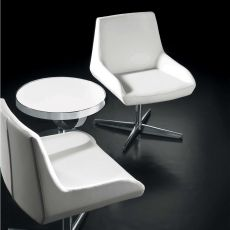 Crystal - Design armchair by Tonon, swivel, upholstered in imitation leather, several colours available