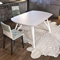 Wonder - Tavolo di design di Bontempi Casa, 170 x 106 cm allungabile, con struttura in metallo e piano in vetro o legno, disponibile in diversi colori
