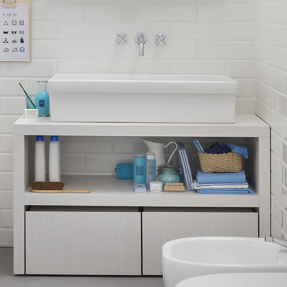 Acqua e Sapone C | Sink cabinet in white elm laminated wood