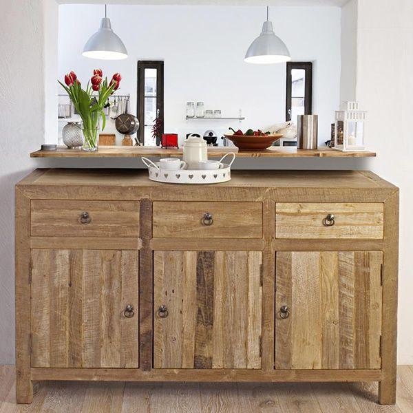agri buffet en teck recycl 150x45 cm hauteur 90 cm. Black Bedroom Furniture Sets. Home Design Ideas