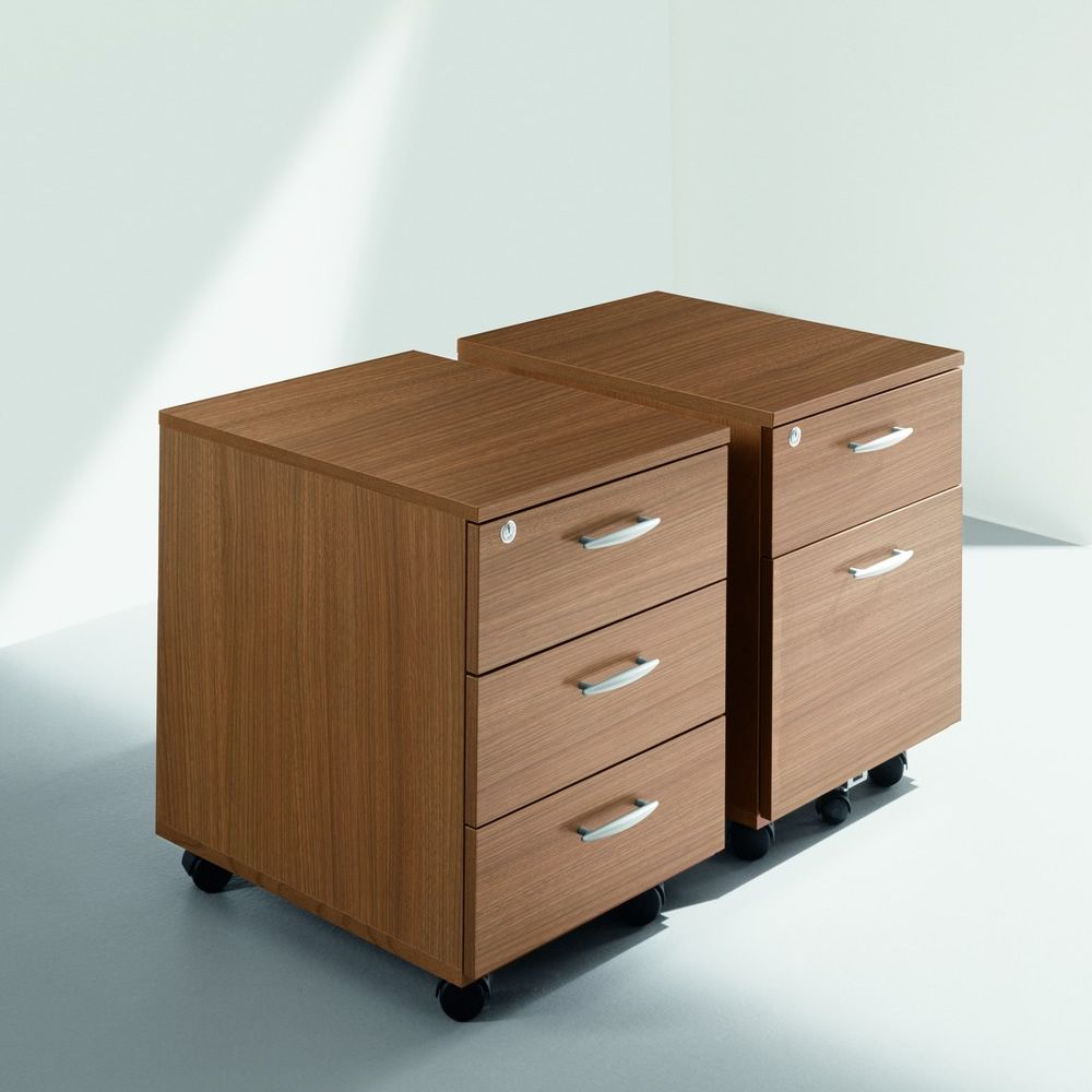 Cassettiera Wood | Chest Of Drawers On Wheels, Canaletto Walnut Laminate  Finish