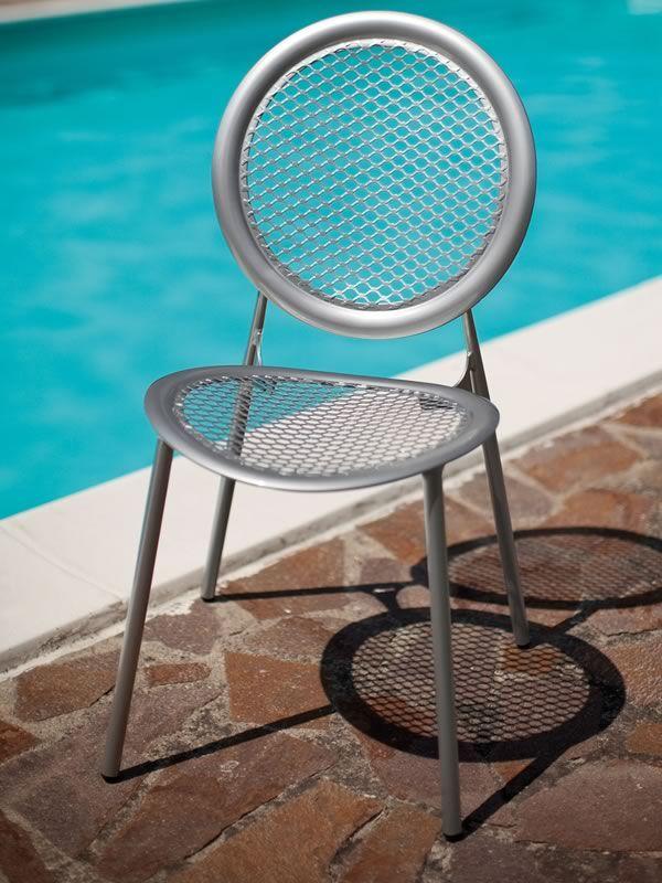 antonietta 3396 chaise emu en m tal pour jardin avec dossier rond empilable sediarreda. Black Bedroom Furniture Sets. Home Design Ideas