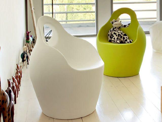 Babà Jr   Poltrona - pouff per bambini, in polietilene nei colori bianco e verde, anche per giardino