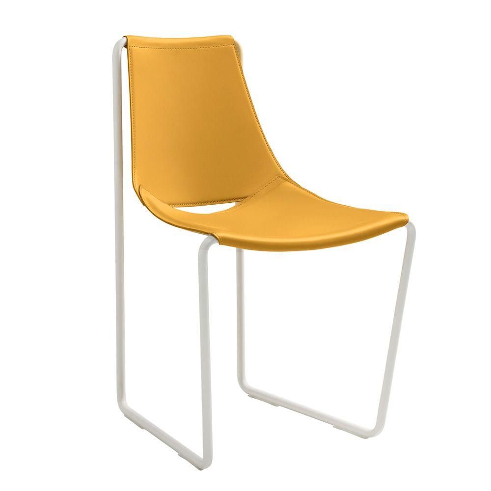 Apelle s chaise midj en m tal et cuir naturel sediarreda for Chaise cuir jaune