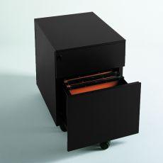 Cassettiera Metal - Cassettiera per ufficio in metallo, dotata di ruote, con due o tre cassetti, diversi colori disponibili