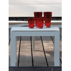 Touch - C1 - Modern low table, 50x45 cm, in aluminium frame with glass top