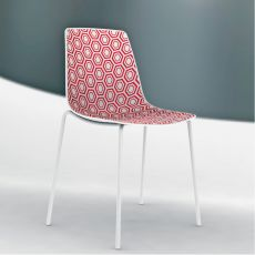 Alhambra - Stacking metal chair with technopolymer seat, with or without armrests, available in different colours, also for outdoor