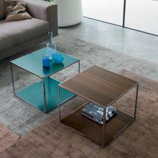 Pitagora - Tavolino quadrato Dall'Agnese in metallo e impiallacciato, diversi colori disponibili