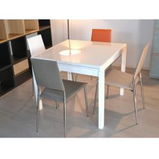 Kendy - Modern wood table, glass top, 90x90 cm, extendable