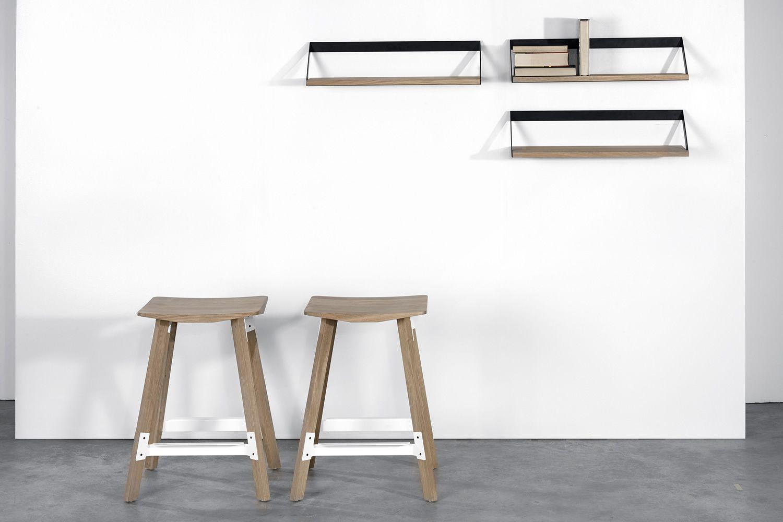 Ribbon mensola a parete universo positivo in legno e metallo