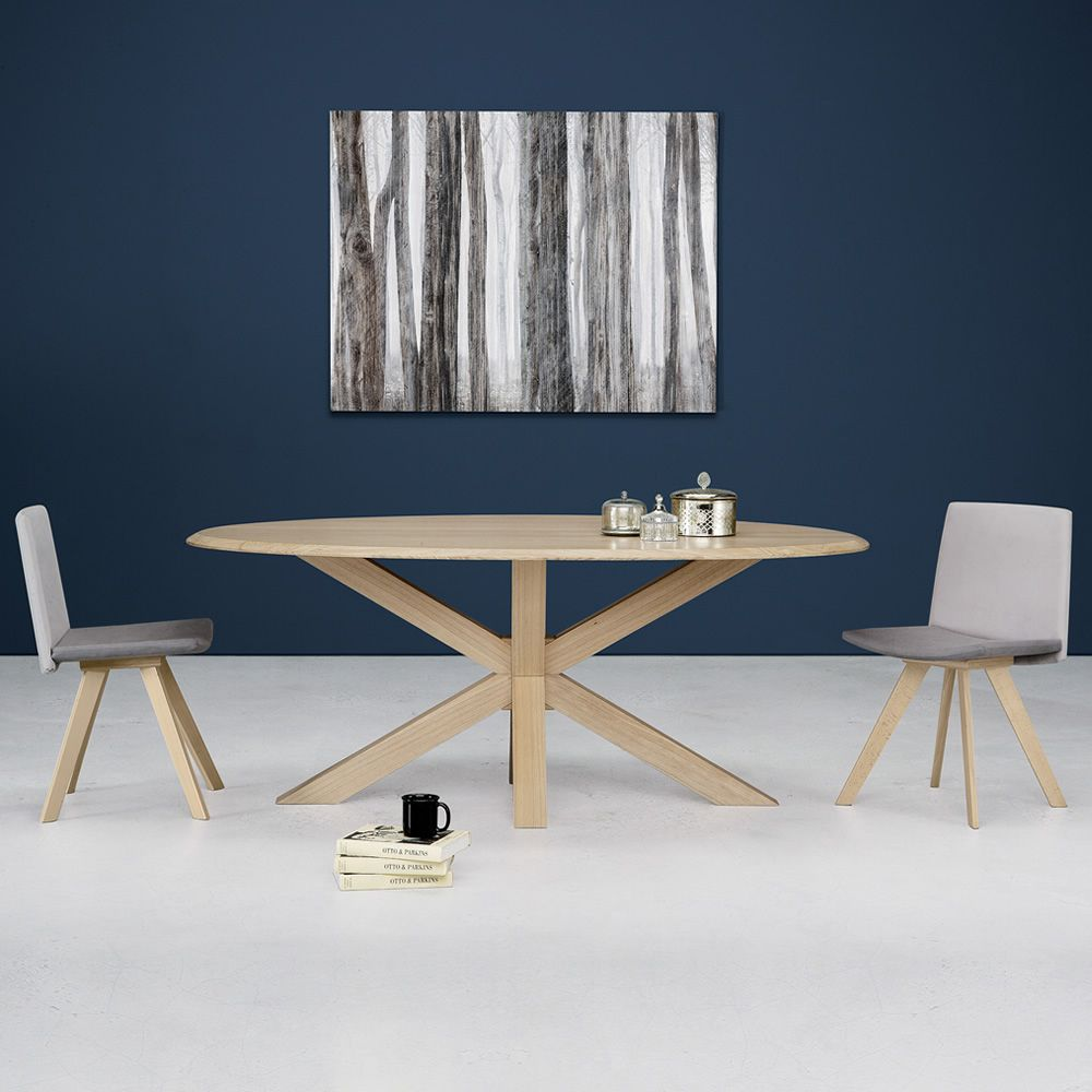 Star modern wooden table wooden top 200x100 cm for Table 200x100