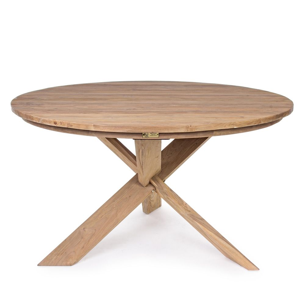 Canyon table en teck avec plateau rond 135 cm diam tre for Plateau pour table de jardin