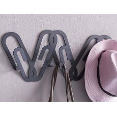 Clips - Coat rack for wall, made of iron, available in several colours